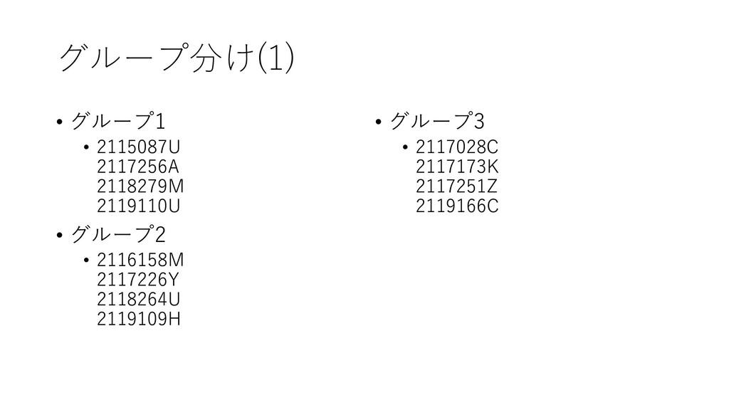 グループ分け(1) • グループ1 • 2115087U 2117256A 2118279M ...