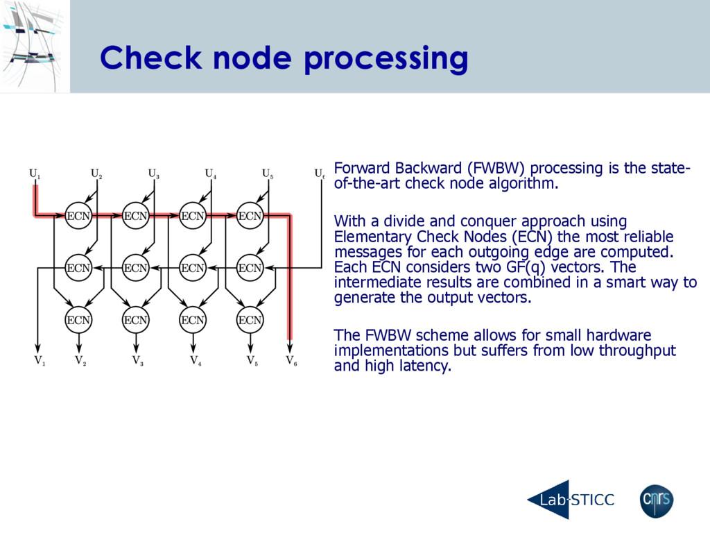 Check node processing Forward Backward (FWBW) p...
