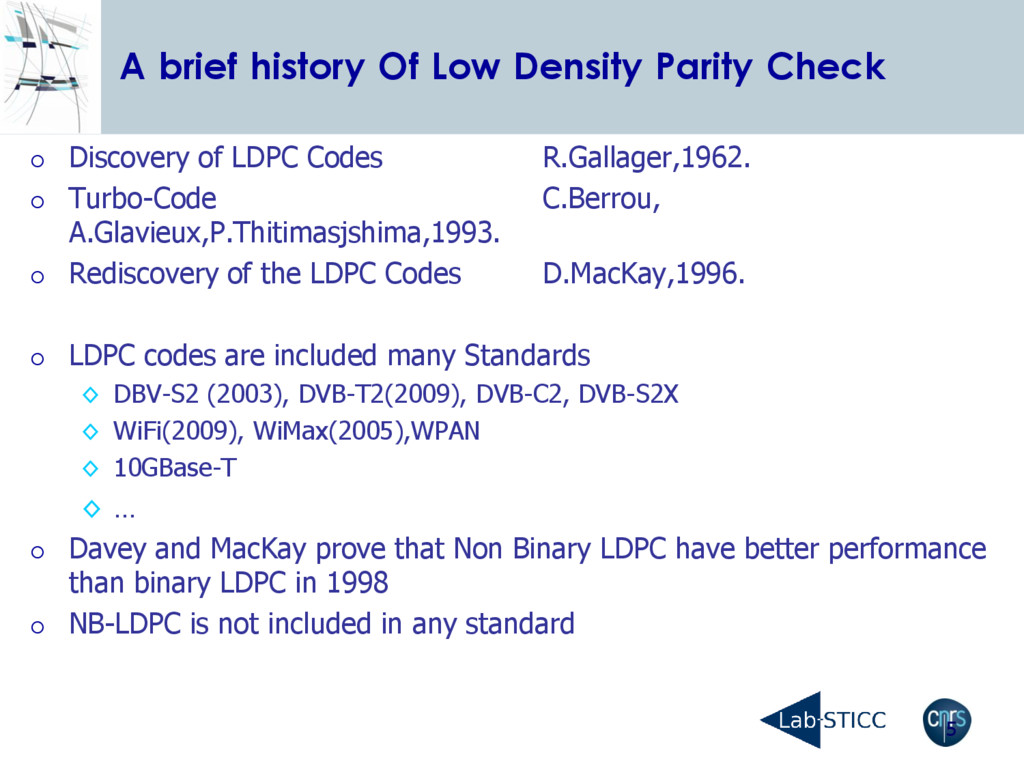 5 A brief history Of Low Density Parity Check ...