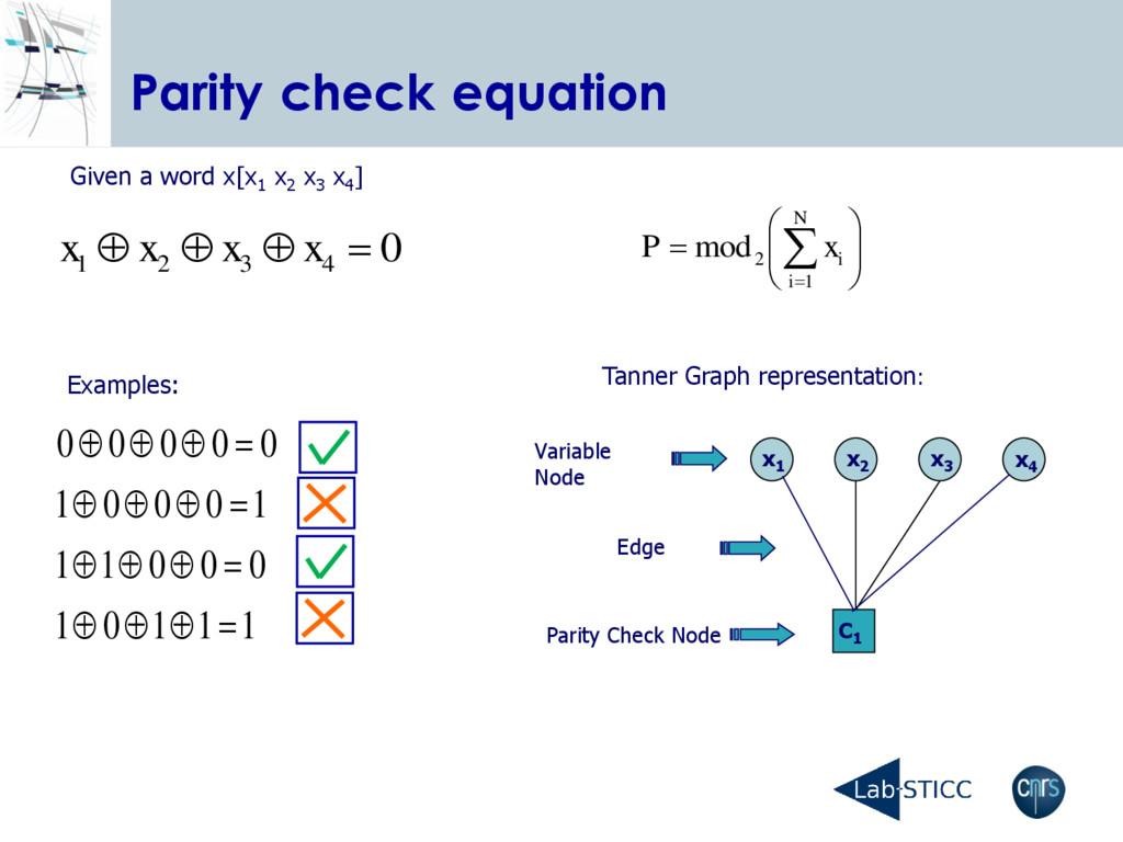 Parity check equation 1 1 1 0 1 0 0 0 1 1 1 0 0...