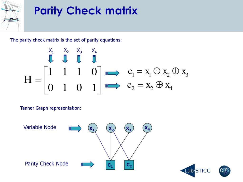 7 Parity Check matrix 3 2 1 1 x x x c     ...