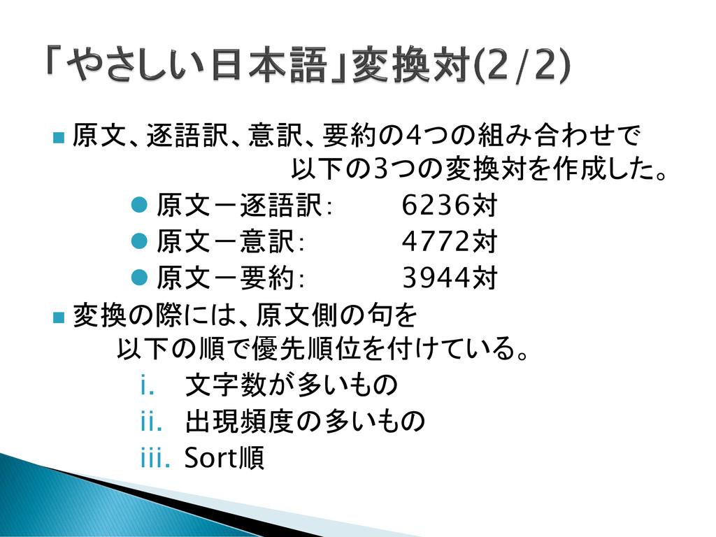  原文、逐語訳、意訳、要約の4つの組み合わせで 以下の3つの変換対を作成した。  原文-逐...