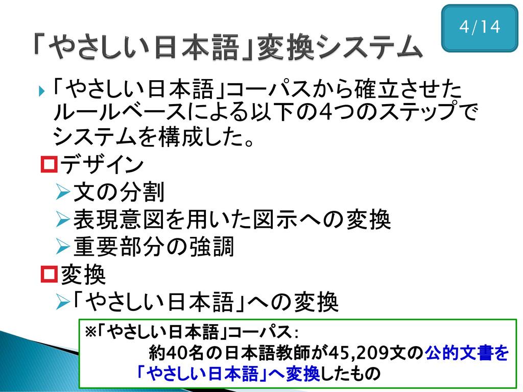  「やさしい日本語」コーパスから確立させた ルールベースによる以下の4つのステップで システ...