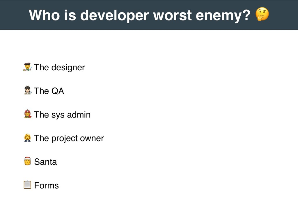 """"""" The designer # The QA $ The sys admin % The p..."""