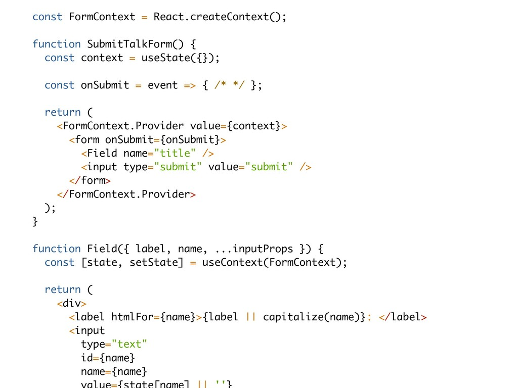 const FormContext = React.createContext(); func...
