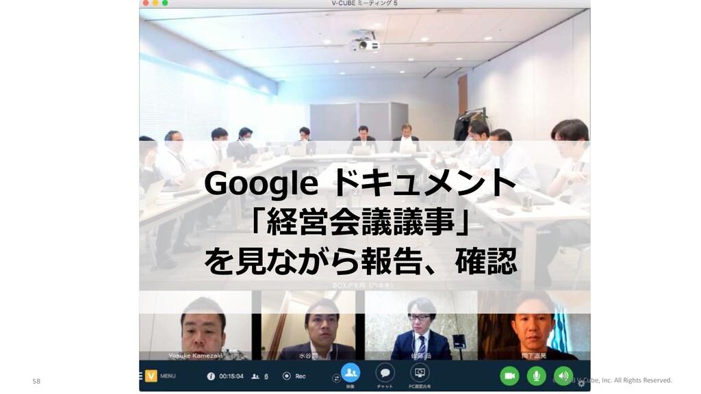 Google ドキュメント 「経営会議議事」 を⾒ながら報告、確認 © 2018 V-Cube...