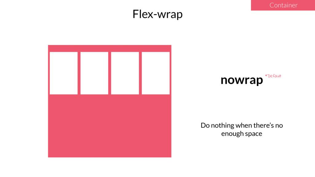 Container Flex-wrap nowrap *Default Do nothing ...