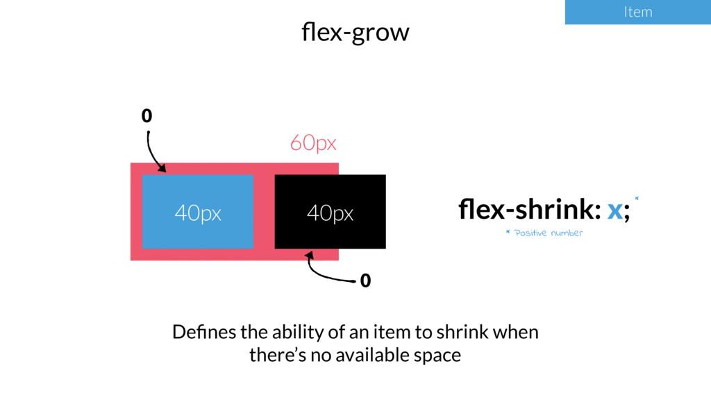 Item flex-grow Item * Positive number * 60px 40p...