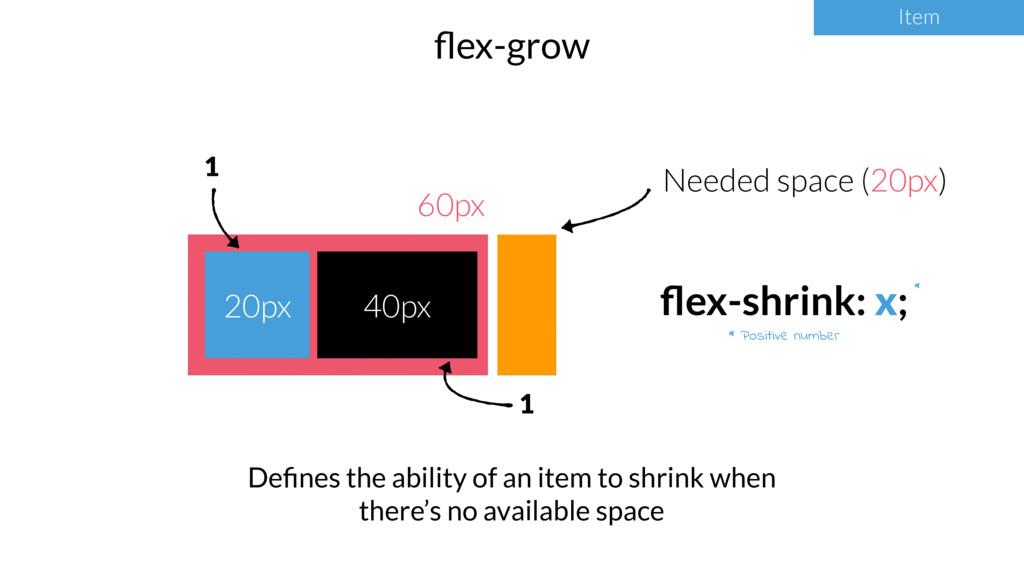 Item flex-grow Item * Positive number * 60px 20p...