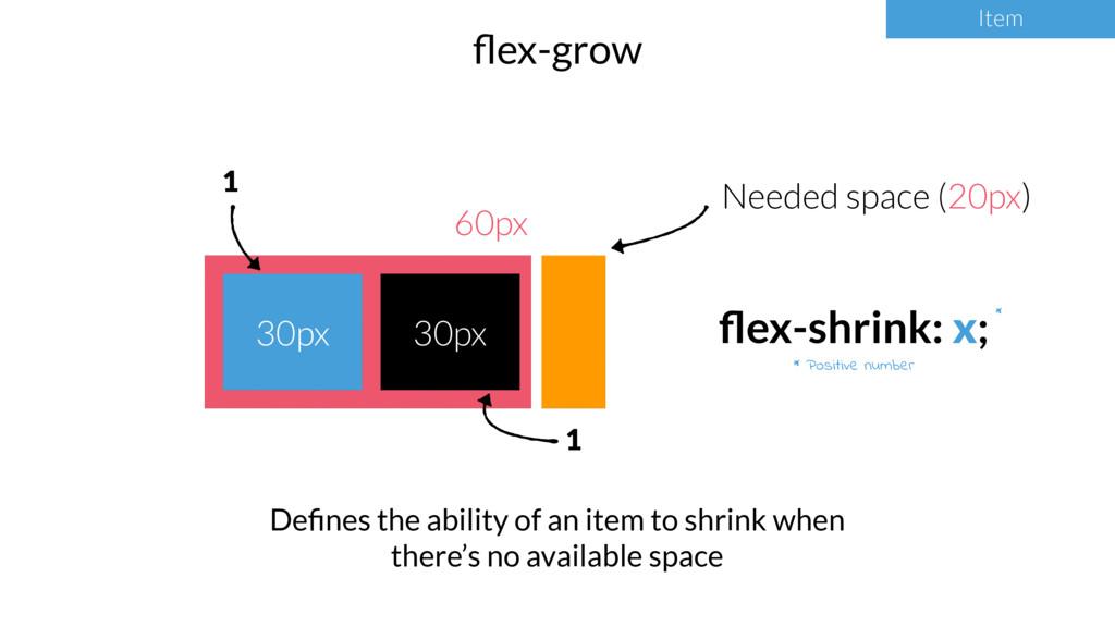 Item flex-grow Item * Positive number * 60px 30p...