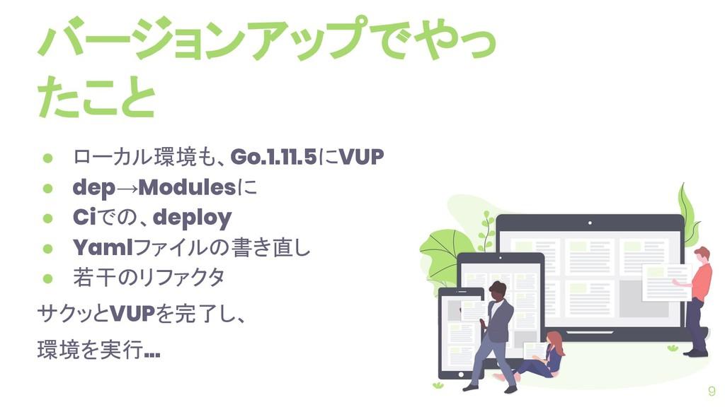 バージョンアップでやっ たこと ● ローカル環境も、Go.1.11.5にVUP ● dep→M...