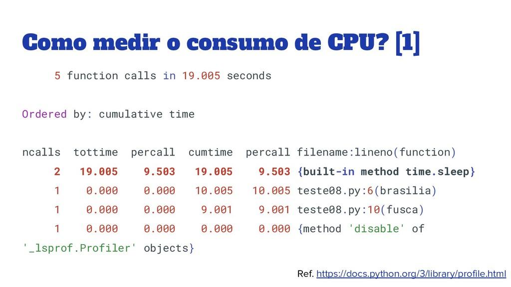 Como medir o consumo de CPU? [1] 5 function cal...