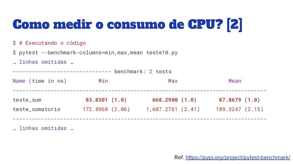 Como medir o consumo de CPU? [2] $ # Executando...