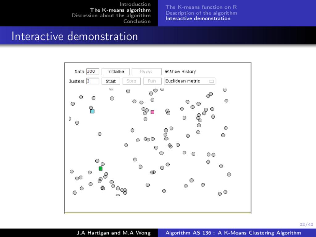 22/42 Introduction The K-means algorithm Discus...
