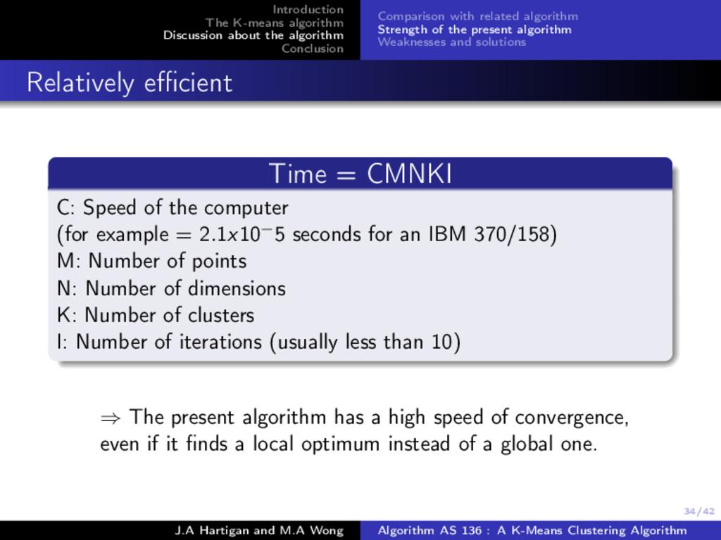 34/42 Introduction The K-means algorithm Discus...
