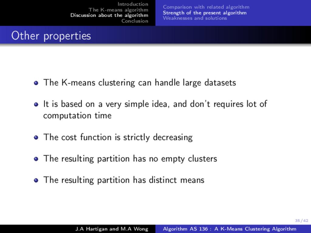 35/42 Introduction The K-means algorithm Discus...