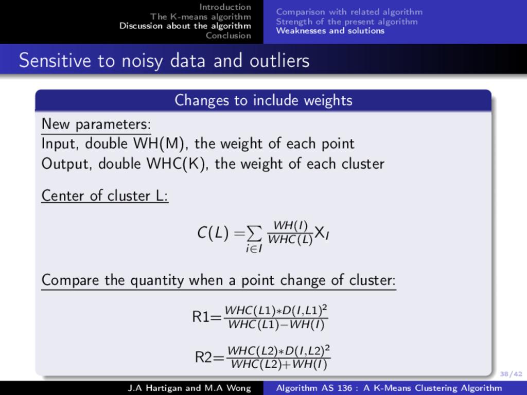 38/42 Introduction The K-means algorithm Discus...