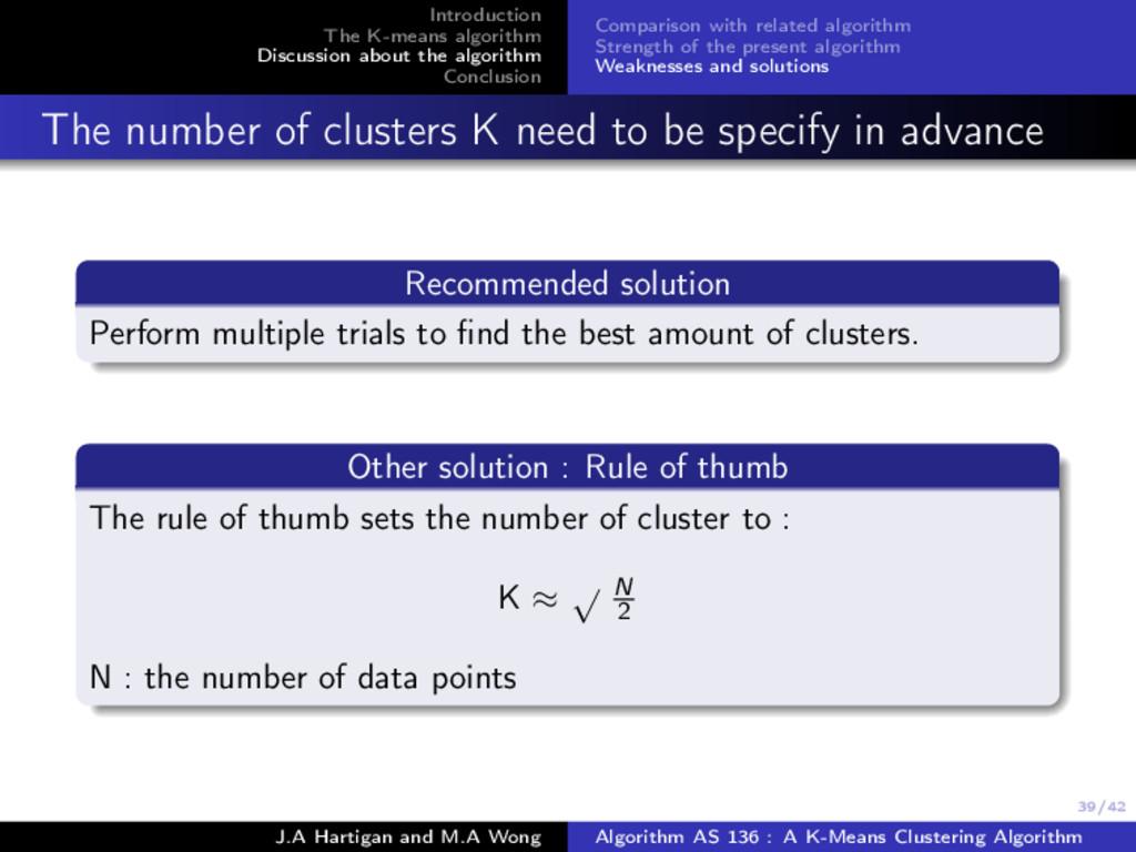 39/42 Introduction The K-means algorithm Discus...