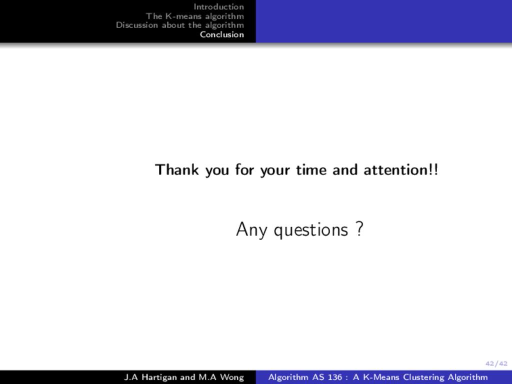 42/42 Introduction The K-means algorithm Discus...