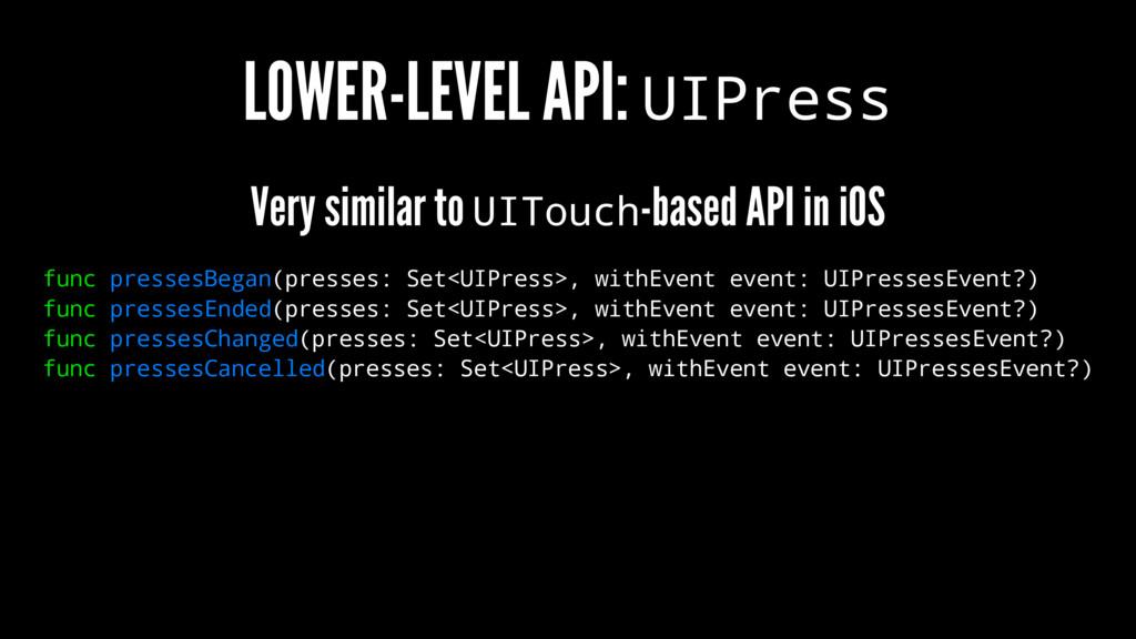 LOWER-LEVEL API: UIPress Very similar to UITouc...