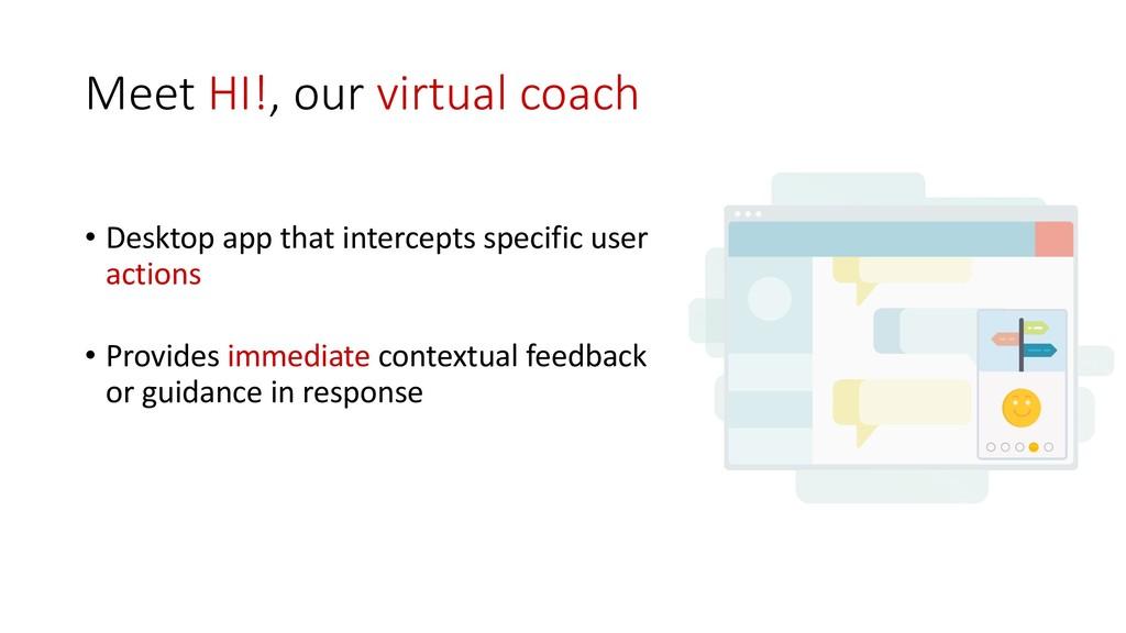 Meet HI!, our virtual coach • Desktop app that ...