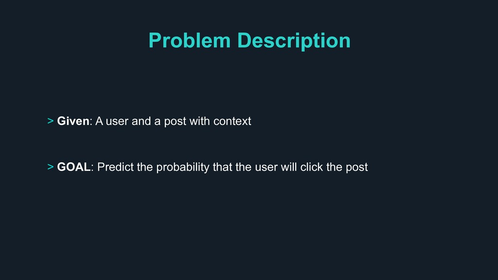 Problem Description > Given: A user and a post ...