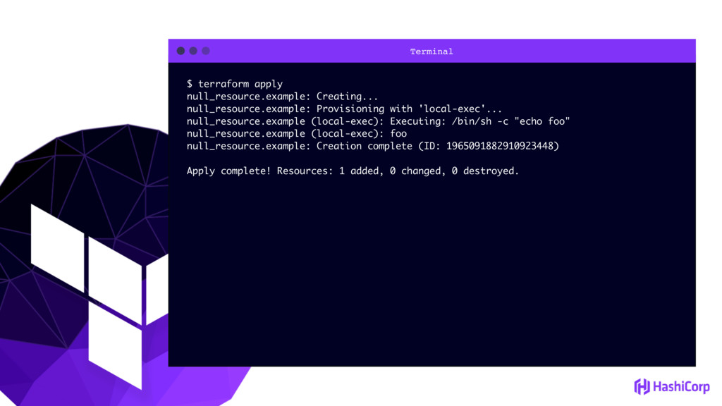Terminal $ terraform apply null_resource.exampl...