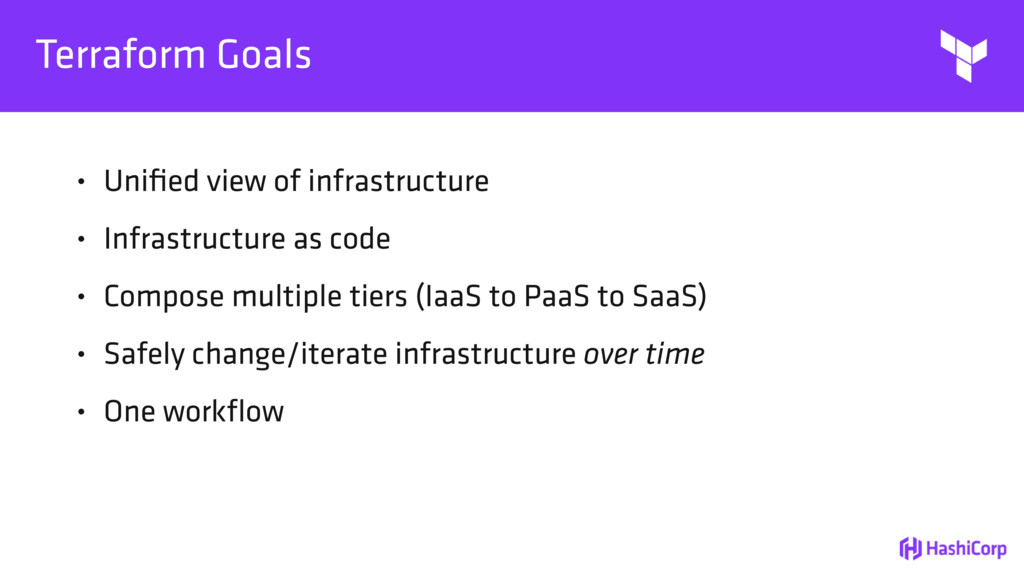 Terraform Goals • Unified view of infrastructure...