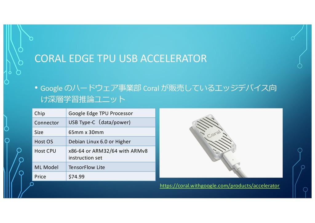 CORAL EDGE TPU USB ACCELERATOR https://coral.wi...