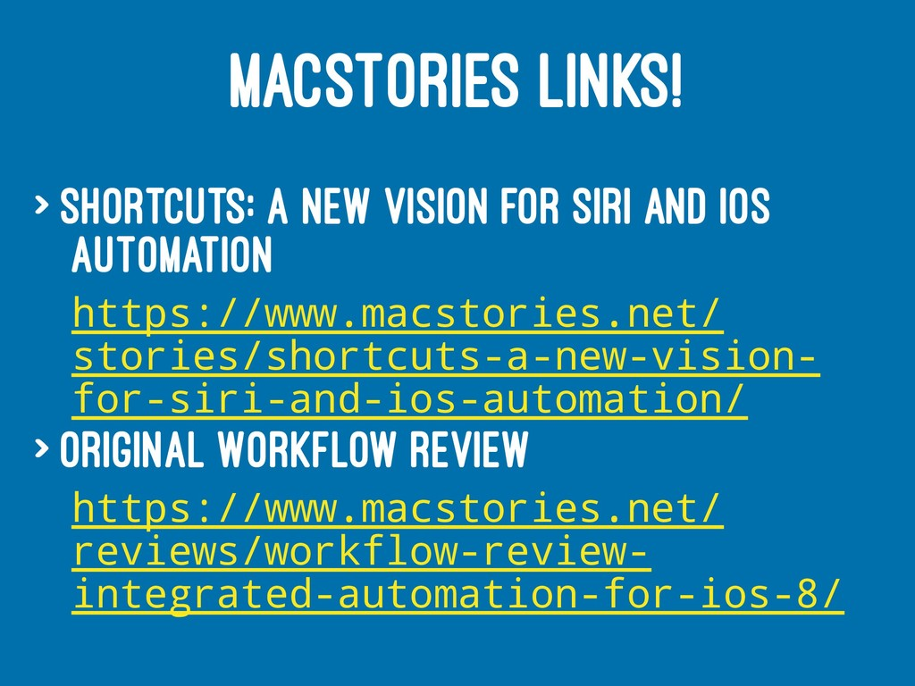 MACSTORIES LINKS! > Shortcuts: A New Vision for...