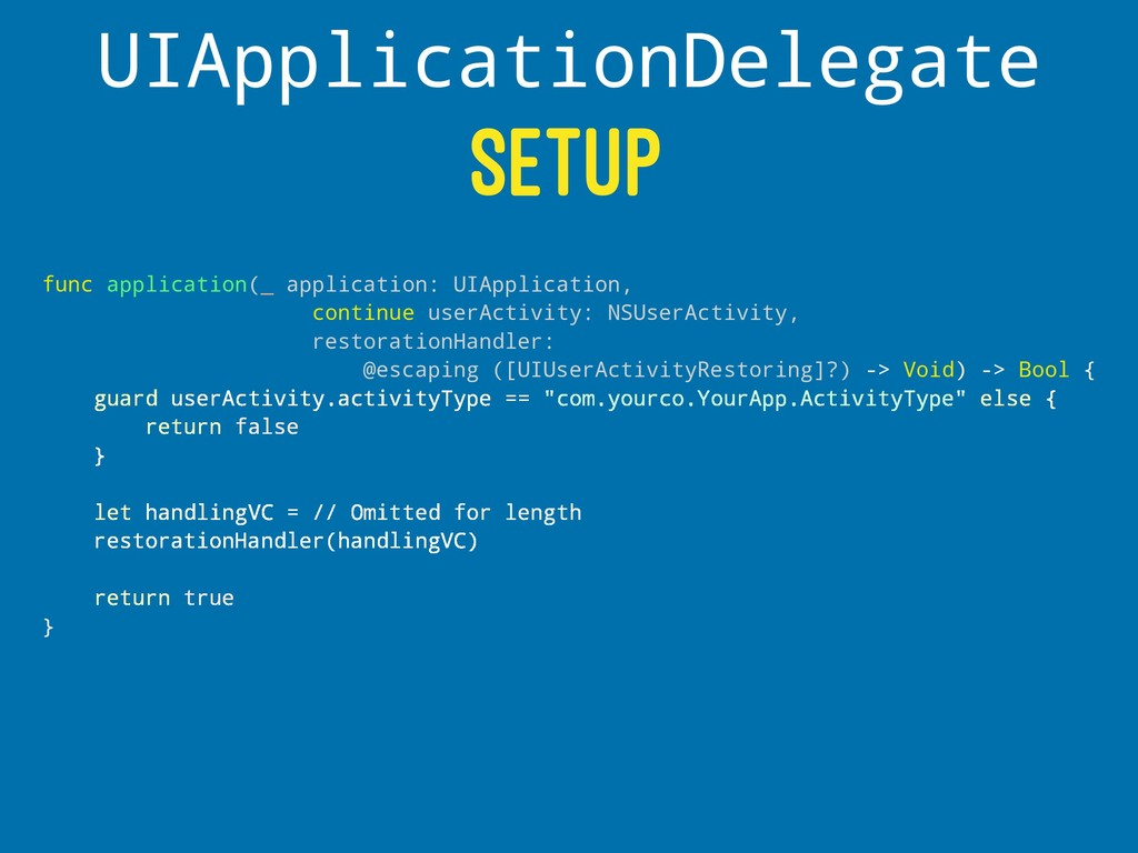 UIApplicationDelegate SETUP func application(_ ...