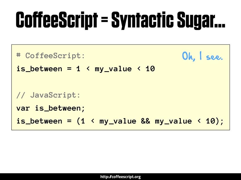 # CoffeeScript: is_between = 1 < my_value < 10 ...