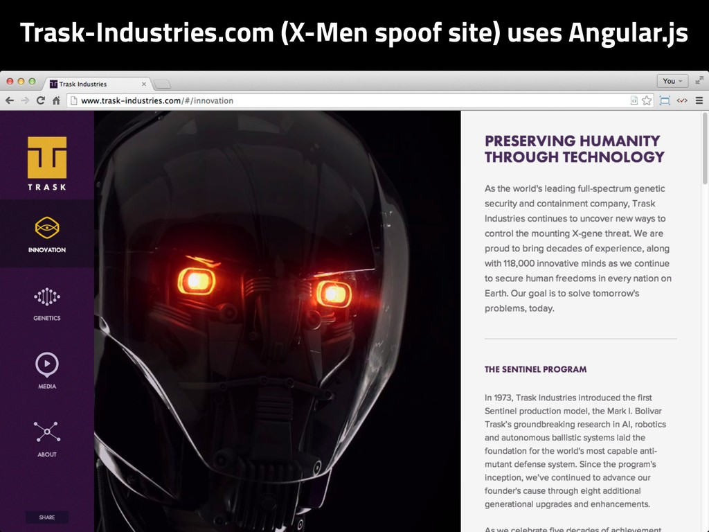 Trask-Industries.com (X-Men spoof site) uses An...