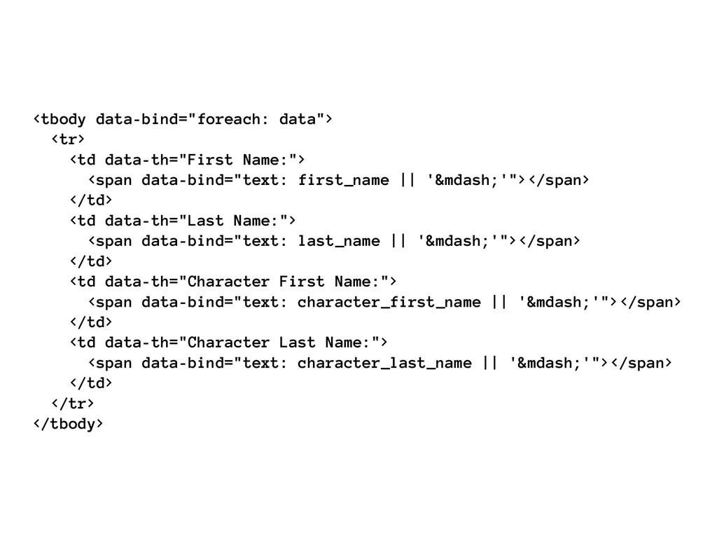 "<tbody data-bind=""foreach: data""> <tr> <td data..."