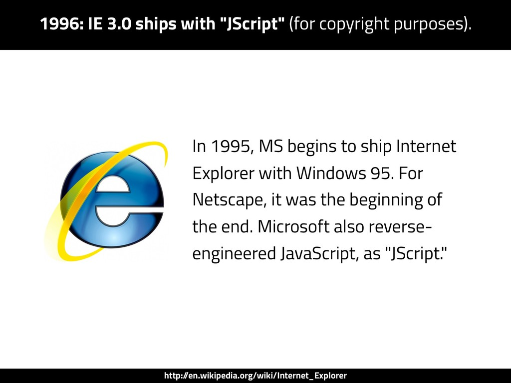 "1996: IE 3.0 ships with ""JScript"" (for copyrigh..."