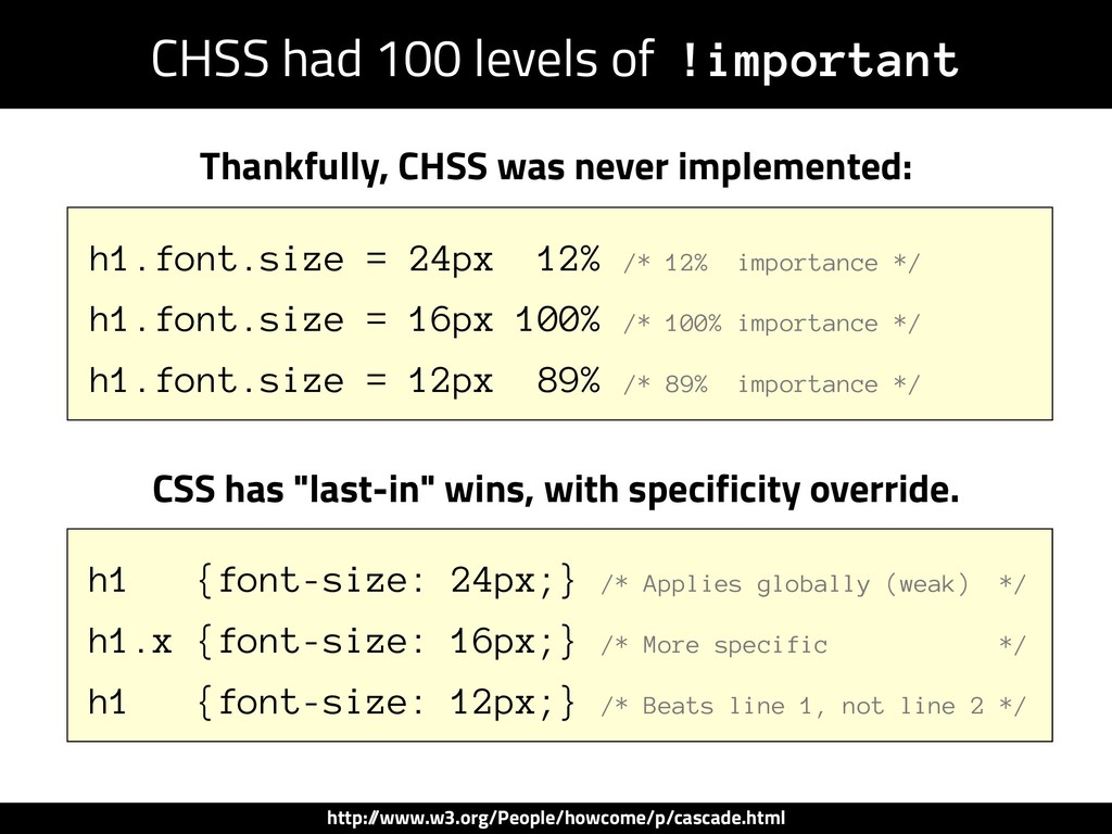 CHSS had 100 levels of !important h1.font.size ...