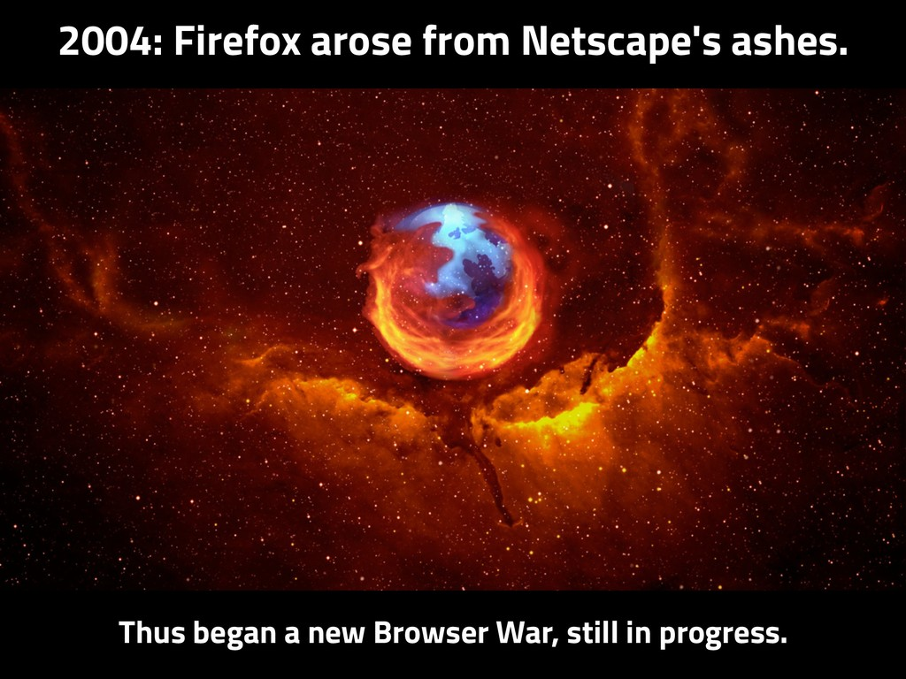 2004: Firefox arose from Netscape's ashes. Thus...