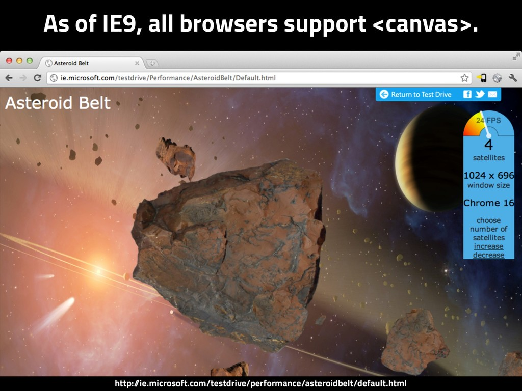 As of IE9, all browsers support <canvas>. http:...