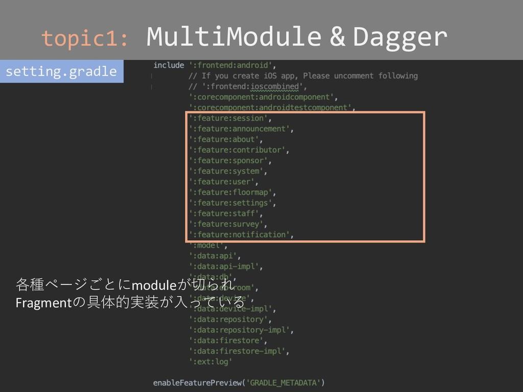 topic1: MultiModule & Dagger setting.gradle 各種ペ...
