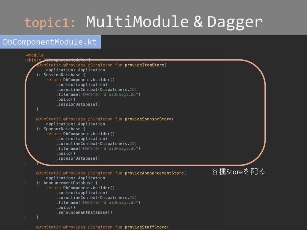 topic1: MultiModule & Dagger DbComponentModule....