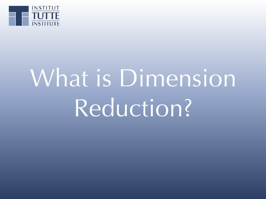 What is Dimension Reduction?