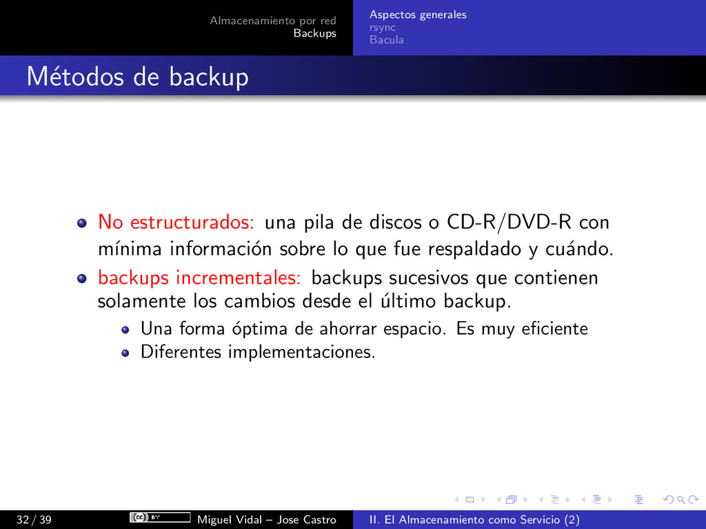 Almacenamiento por red Backups Aspectos general...