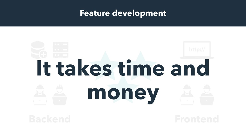 Frontend Backend Feature development It takes t...