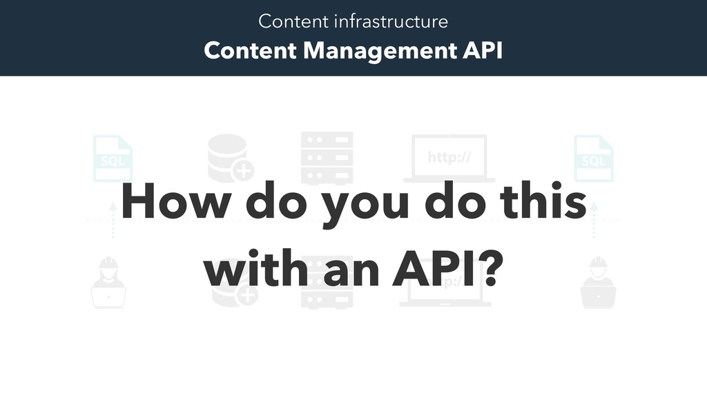 How do you do this with an API? Content infrast...