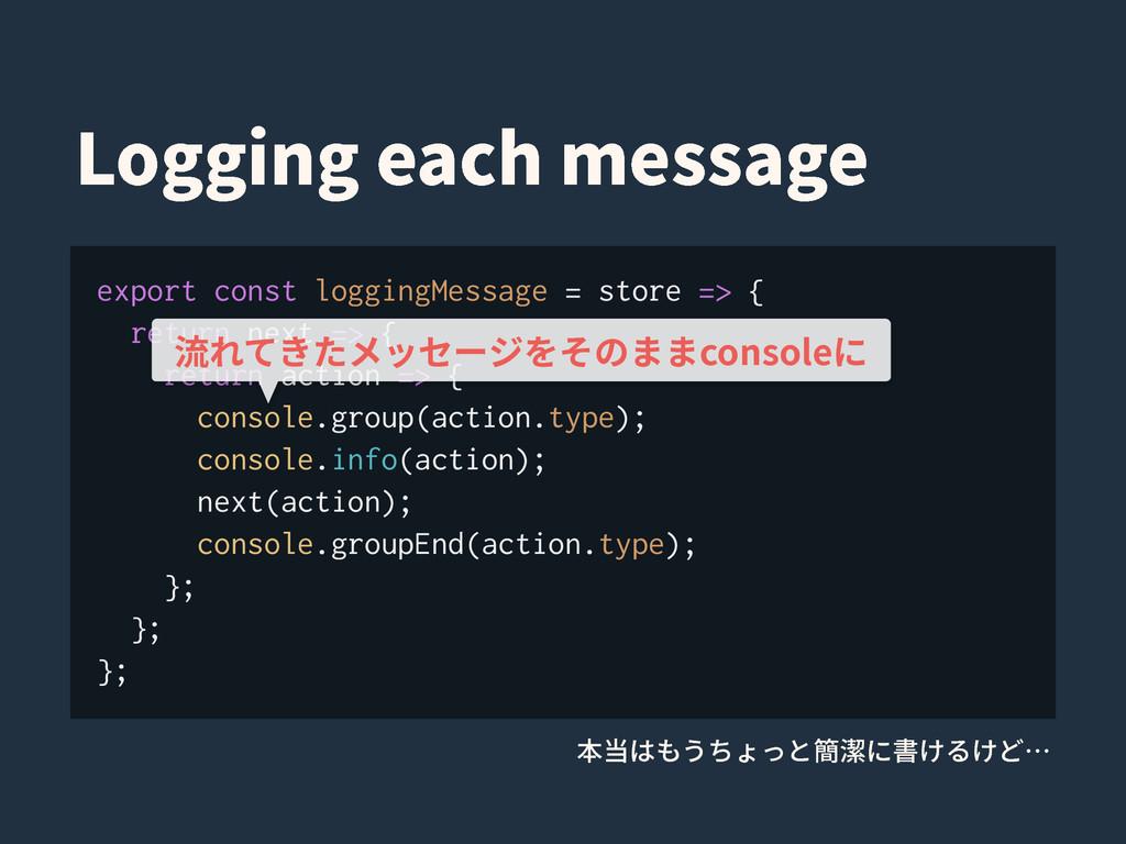 export const loggingMessage = store => { return...