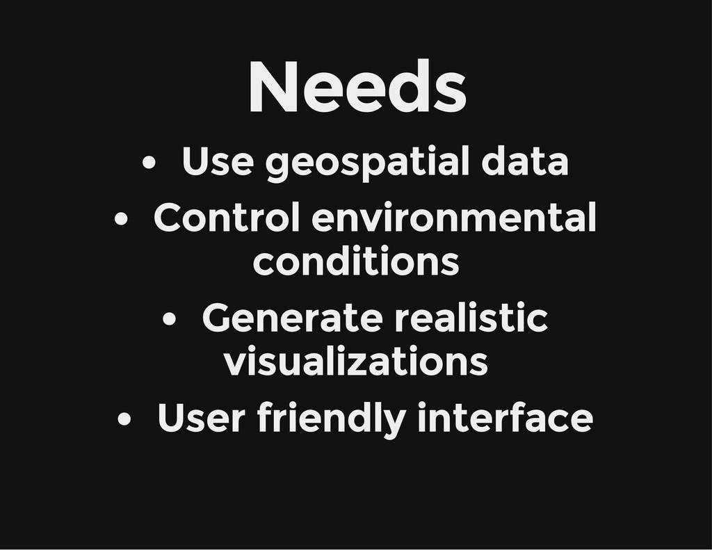 Needs Use geospatial data Control environmental...