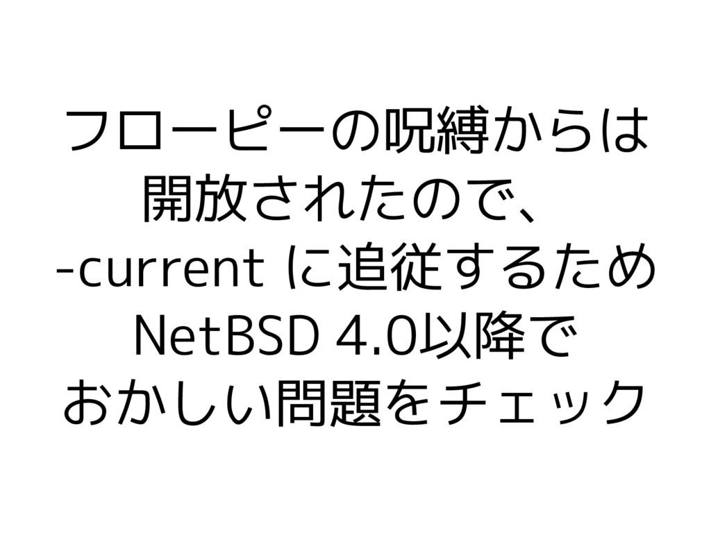 フローピーの呪縛からは 開放されたので、 -current に追従するため NetBSD 4....