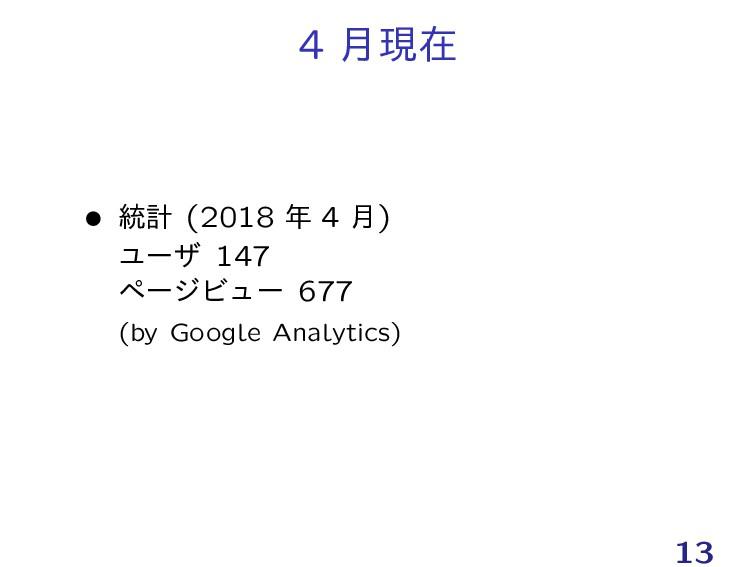 4 ݄ݱࡏ Ĺ ౷ܭ (2018  4 ݄) Ϣʔβ 147 ϖʔδϏϡʔ 677 (by ...