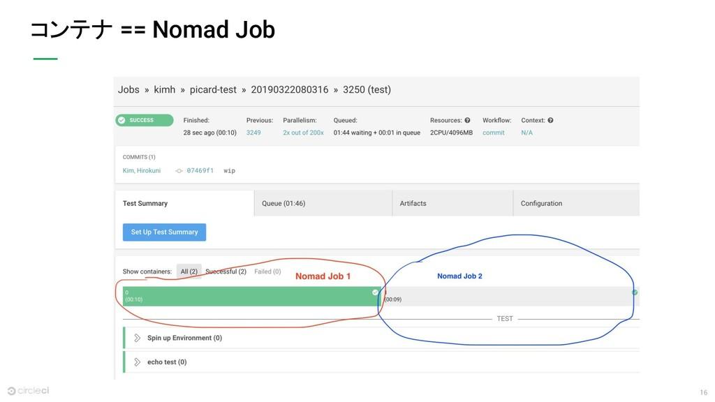 16 コンテナ == Nomad Job