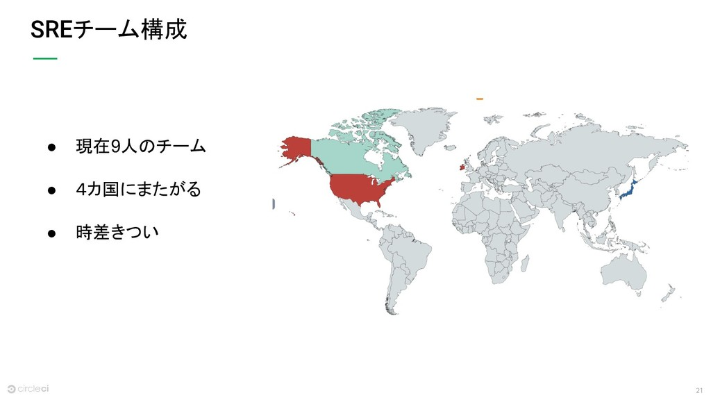 21 SREチーム構成 ● 現在9人のチーム ● 4カ国にまたがる ● 時差きつい